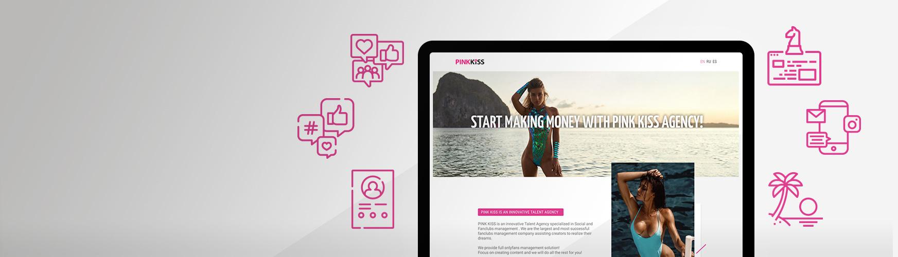 Изработка на WordPress-базирана landing-страница за агенция за таланти Pink Kiss